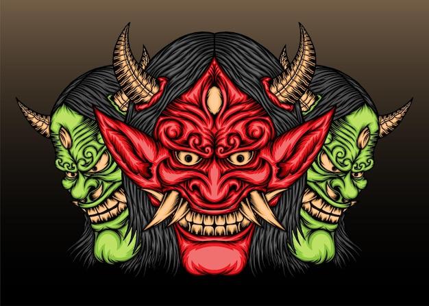 일본 악마 한냐 마스크 그림.