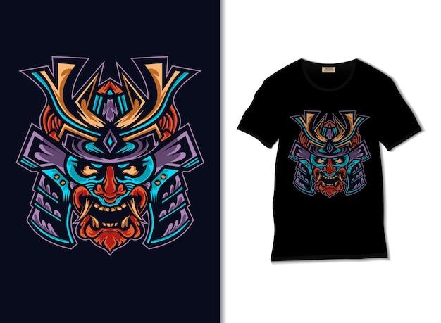 Japanese demon mask illustration with t shirt design