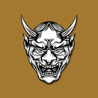 Japanese demon mask illustration