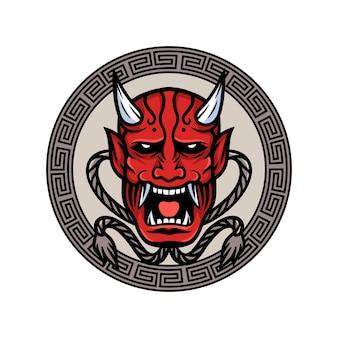Japanese demon mask vector illustration