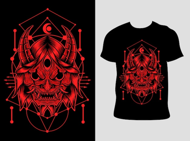 T 셔츠 디자인 일본 악마 마스크