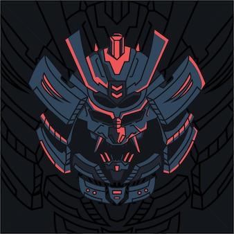 Японский демон самурай игровой талисман логотип шаблон иллюстрации