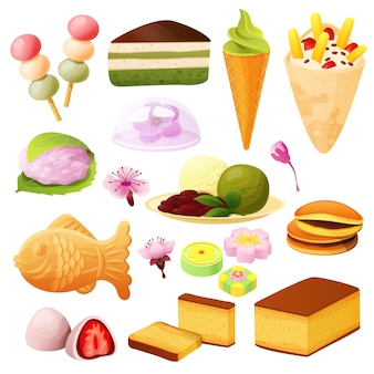 Japanese dessert collection, set  on white, asian food menu,  illustration