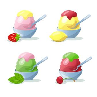 Japanese dessert kakigori set ilustration