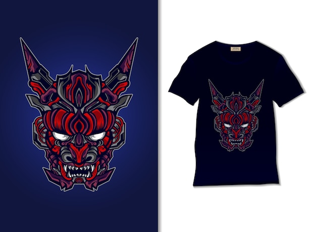 日本の悪魔の邪悪なマスクイラストtシャツデザイン、手描き