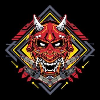 Japanese devil mask hannya with spark plug emblem