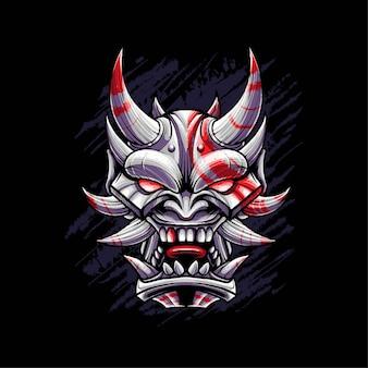 일본 악마 마스크 벡터 일러스트 레이 션. t 셔츠, 인쇄 및 의류에 적합