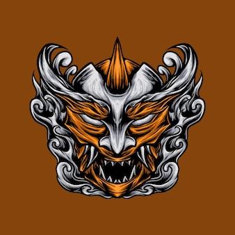 Японская маска дьявола векторные иллюстрации