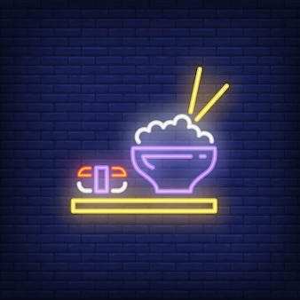 Japanese dishes with sushi and rice neon sign