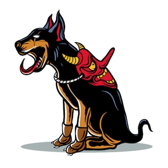 Japanese dog with devil mask illustration