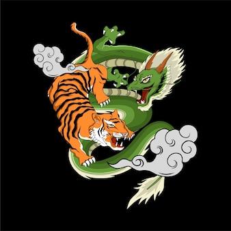 Японский дракон и тигр иллюстрация для дизайна футболки