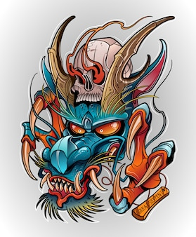 Japanese dragon demon with human skull