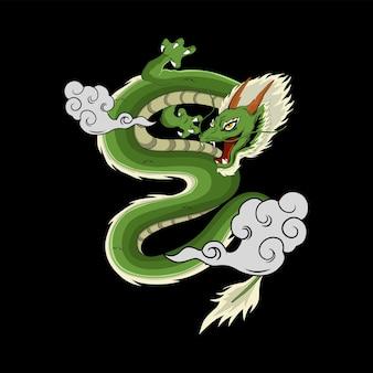 Иллюстрация японского дракона для дизайна футболки