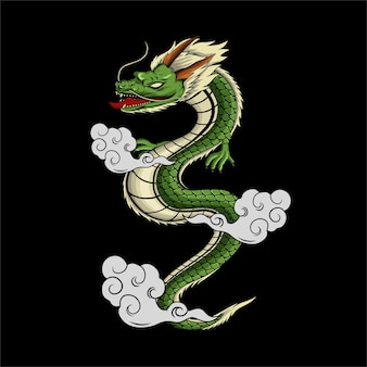 Japanese dragon illustration for tshirt design