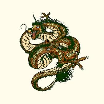 Японский дракон, изолированные на белом фоне