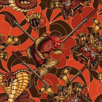 Japanese elements vintage seamless pattern with katana sword poisonous snake head samurai mask in helmet koi carp angry king cobra