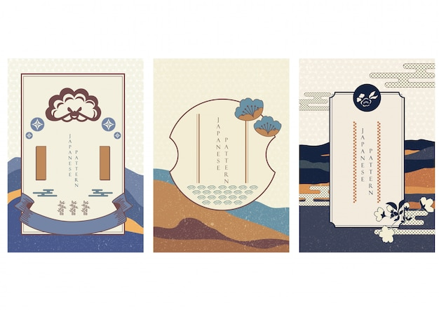 Japanese elements with landscape background  . asian template in vintage style.