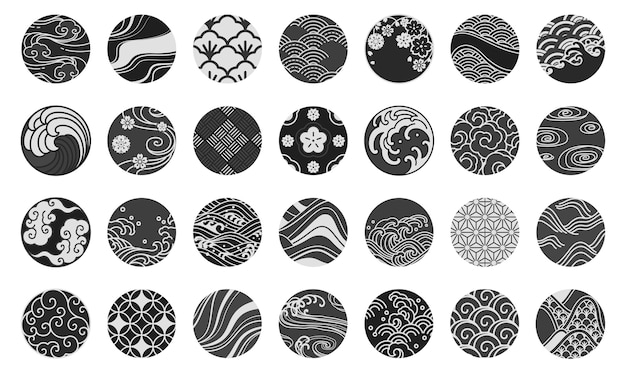 Japanese emblem and symbol round shape illustration.water sea ocean wave, chinese cloud and wind,sakura,textiles,porcelain,traditional vintage style.