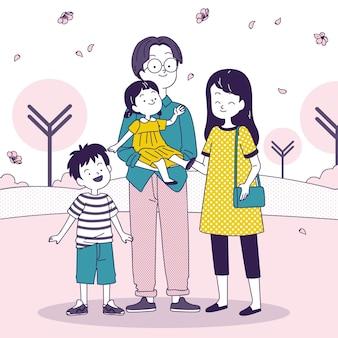 야외에서 산책을 즐기는 일본 가족