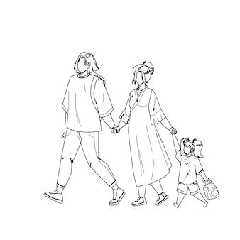 공원에서 함께 걷는 일본 가족