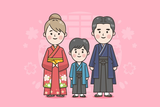 Japanese family with traditional clothes