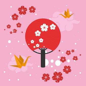 Japanese fan with flowers