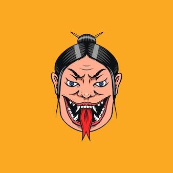 ヘビの舌を持つ日本の女性芸者。怖い女性の叫び。
