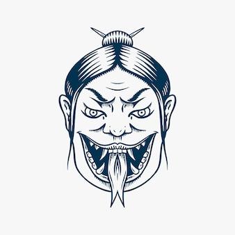 Japanese female geisha with snake tongue