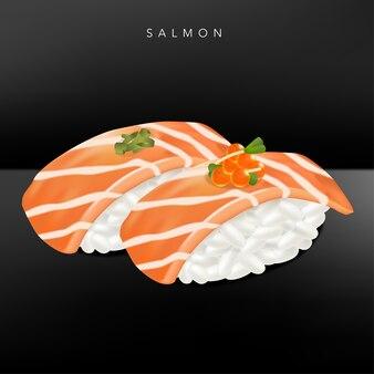 Японский ресторан изысканной кухни или суши-бар реалистичные лососевые суши с икрой лосося