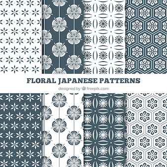 Japanese floral black and white patterns