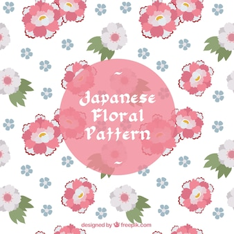 Japanese floral pattern, pink flowers