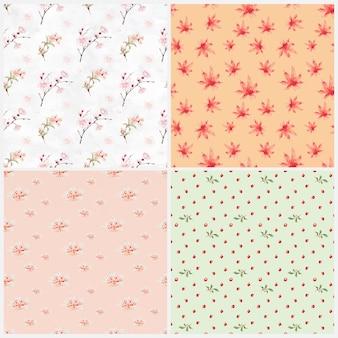 Japanese floral pattern set, remix from artworks by megata morikaga