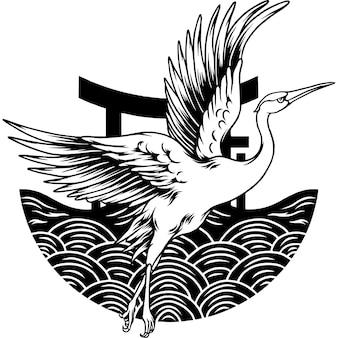 일본 비행 크레인 실루엣
