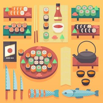 日本の食べ物と料理のイラスト。要素を調理します。伝統的なアジアのキッチンのコンセプト。