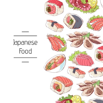 Japanese food background with asian cuisine dishes