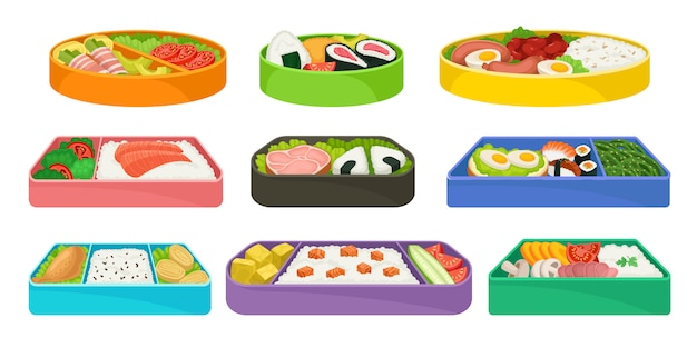Japanese food in colorful lunch boxes set.
