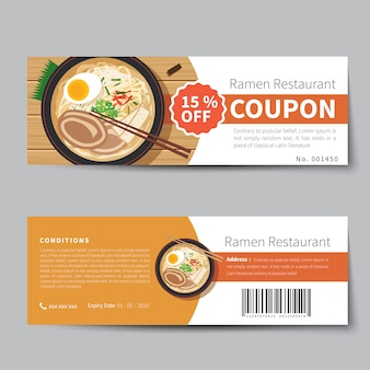 Japanese food coupon discount template flat design