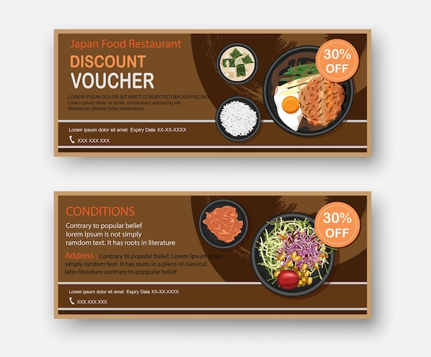 Japanese food coupons discount template flat design