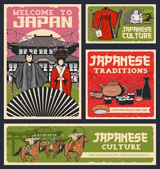 Japanese food, culture and religion traditions design of sushi rolls, geisha and samurai with kimono and fan.