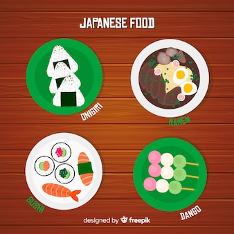 Japanese food dishes set