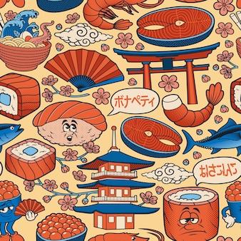 Японская еда каракули искусство бесшовный фон