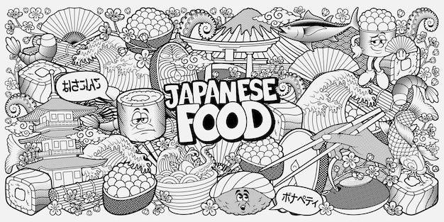Japanese food doodle black and white background, coloring book