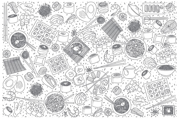 Японская еда каракули набор