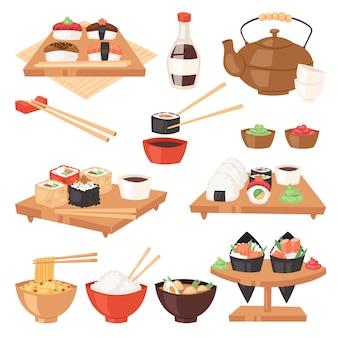 日本食は寿司寿司刺身ロールまたは握りと日本食をご飯と魚介類を食べる日本レストランの図は、白い背景で隔離の箸セット日本化料理