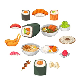Japanese food icons set, cartoon style