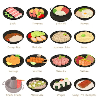 Japanese food icons set