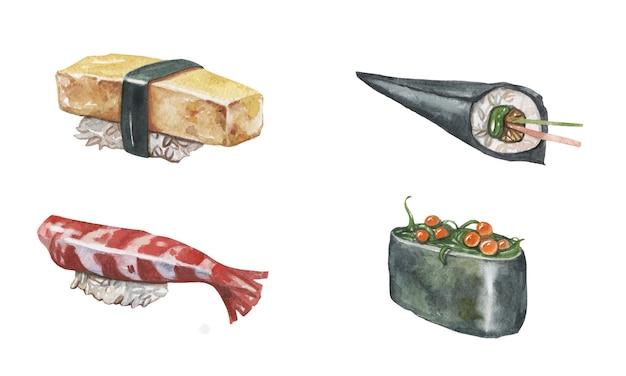 水彩で日本食のイラスト。だし巻き、てまき、たまぎ、軍艦なぎり手描きセット。