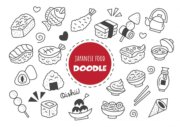 Japanese food kawaii doodle