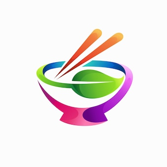 Japanese food logo with chopsticks concept