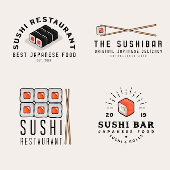 Japanese food, logos, badges for business. sushi bar logotypes with japan seafood related objects